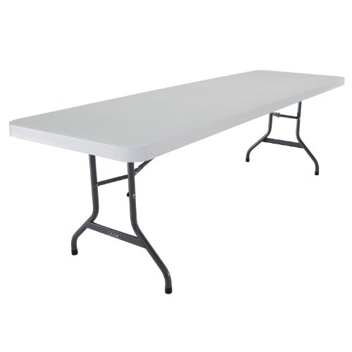 Lifetime 22980 Folding Utility Table, 8 Feet, White Granite