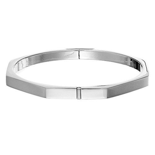 Silverly Women's .925 Sterling Silver Geometric Octagon Hinged Bangle Bracelet - Octagon Bangle