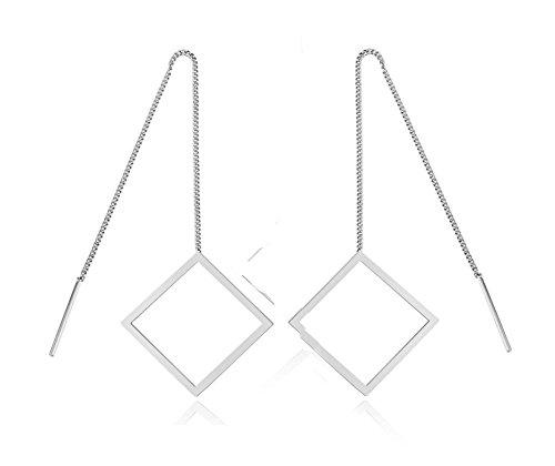Tassel Threader Earrings S925 Sterling Silver Square Long Earrings