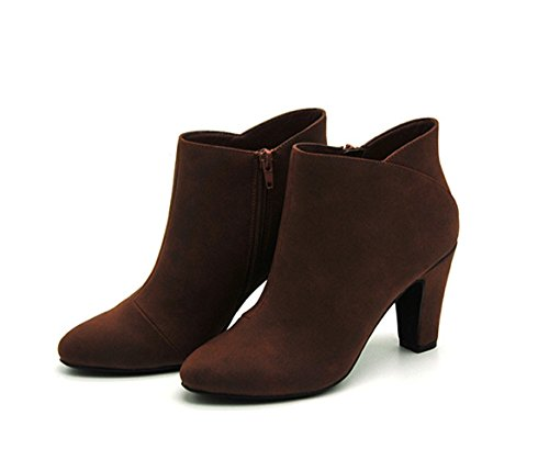 Honeystore Womens PU Leather Zipper Ankle Boots Mid Chunky Heel Bootie Burgundy L8OVF6lmJe