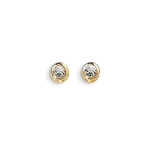 14K Yellow Gold 4mm Bezel April/White Simulated Zircon Post Earrings (Approximately 4mm x 4mm) - Zircon Earrings