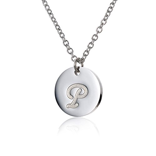 HUAN XUN Stainless Steel Alphabet Stamped Disc Pendant Necklace P