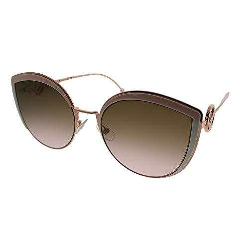 Fendi Women's Round Slight Cat Eye Sunglasses, Pink/Brown Gradient, One ()