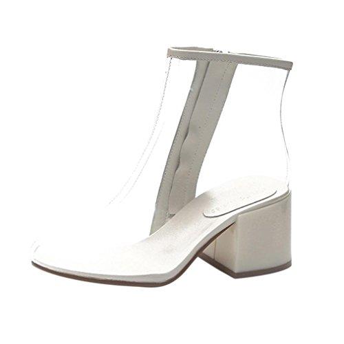 Stivaletti Trasparente BYSTE Donna Stivali Alti Tacchi Scarpe Stivali Caviglia Acqua Boots Stivali Martin da Bianca da Pioggia nxwwrHR