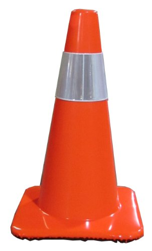 "Work Area Protection 18PVCS Polyvinyl Chloride Standard Traffic Cone with 4"" VSB Reflective Collar, 7-1/4"" Diameter x 18"" Height, Fluorescent Orange"