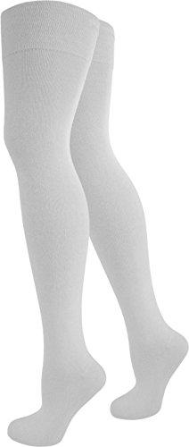 3 Paar Top modische Damen Overknees in verschiedenen Designs / Baumwolle mit Elasthan von normani® Weiß