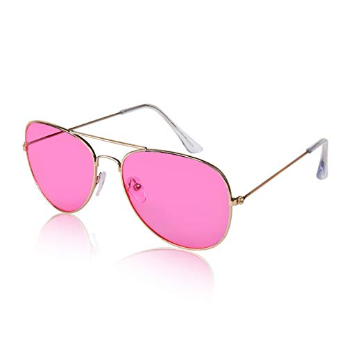 (Ladies Women's Aviator Style Colorful Glasses Female Groovy Clothes Vintage Pink)
