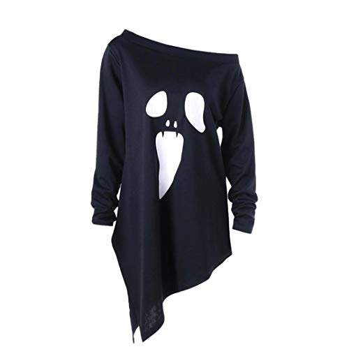 iYBUIA Halloween Womens O-Neck Long Sleeve Ghost Print Sweatshirt Pullover Tops Blouse(Black ,L)