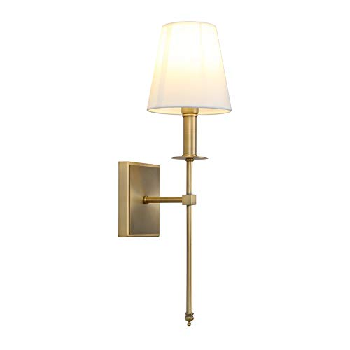 - Permo Single Classic Rustic Industrial Wall Sconce Lighting Fixture with Flared White Textile Lamp Shade and Antique Brass Tapered Column Stand