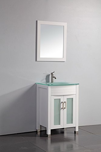 "Legion Furniture WA3224W 24"" Tempered Glass Top Bathroom ..."