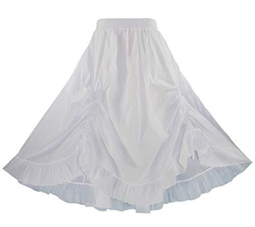 (Beautybatik White Cotton Boho Gypsy Long Maxi Victorian Flare Skirt 2X)