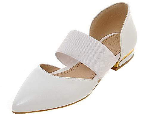 Sandales Blanc Tire à PU AalarDom Cuir Unie Couleur Femme Bas Talon TSFLH007652 wZqHaOxfS