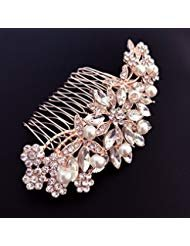Ammei Rose Design Rhinestone Crystal Wedding Headband Bridal Headpieces Simple Design Bridal Headband (Rose Gold)