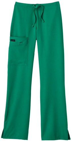 Classic Fit Collection by Jockey Women's Tri Blend Zipper Scrub Pants Large Tall Spruce Hunter