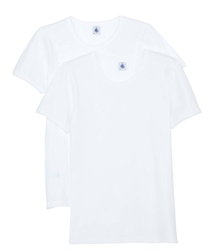 PETIT BATEAU SET OF 2 GIRL'S SHORT SLEEVES WHITE UNDERWEAR/UNDERSHIRT SIZES 2-18 STYLE 15039 (SIZE 6 STYLE ()