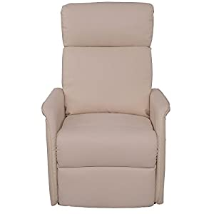 Lift Chair Recliner Sofa Electric Power PU Leather Padded Seat Living Room Beige