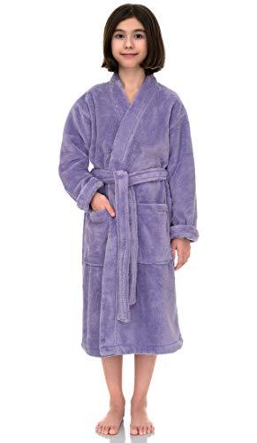 TowelSelections Big Girls' Robe, Kids Plush Kimono Fleece Bathrobe Size 12 Lavender