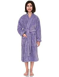 TowelSelections Big Girls' Robe, Kids Plush Kimono Fleece Bathrobe Size 14 Lavender