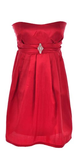 (Alythea Strapless Taffeta Cocktail Dress L Red)