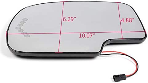 GaofeiLTF Exterior Heated Mirror Glass with Turn Signal Fits Chevy GMC Cadillac Left Driver Side Exterior Mirror Replacement without Auto Dimming 1pcs