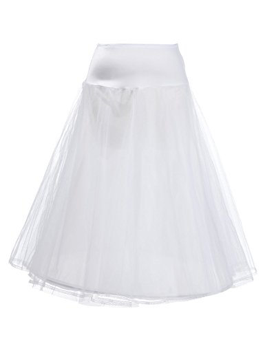 Remedios 1 Hoop Bridal Petticoat Underskirt for A Line Wedding Dress,White,L-XL (Plus Size White Tulle Petticoat)