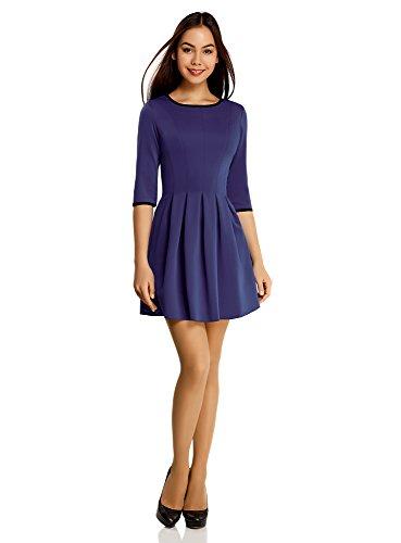 oodji Ultra Mujer Vestido de Punto con Pliegues en la Falda Azul (7500N)