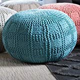 Christopher Knight Home Valentine Hand Knit Fabric Pouf (Blue) by Christopher Knight Home
