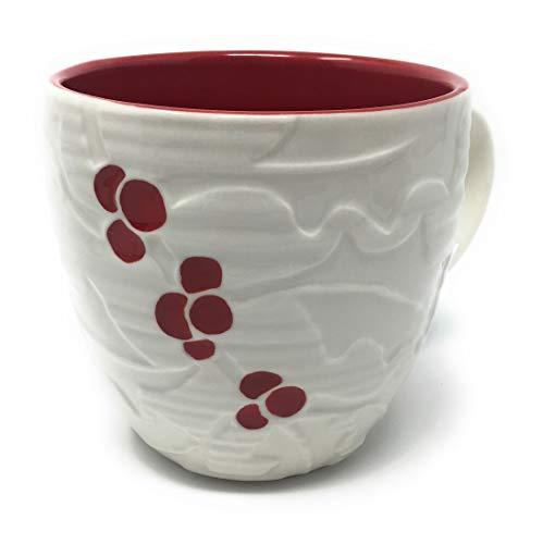 Starbucks Coffee 2010 Hand Painted White Red Holly Berries Mug 18 fl. oz.