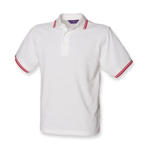 Henbury 65/35 Kinder-Spitze polo Weiß/Rot 9-10 Yrs