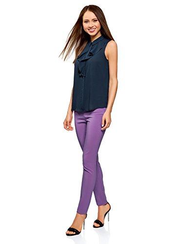 Top Bleu Jabot Femme Collection Tissu en oodji Fluide 7900n qSEPOnn