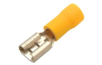 100 x Fully Insulated YELLOW Female Electrical Spade Crimp Connector Terminal