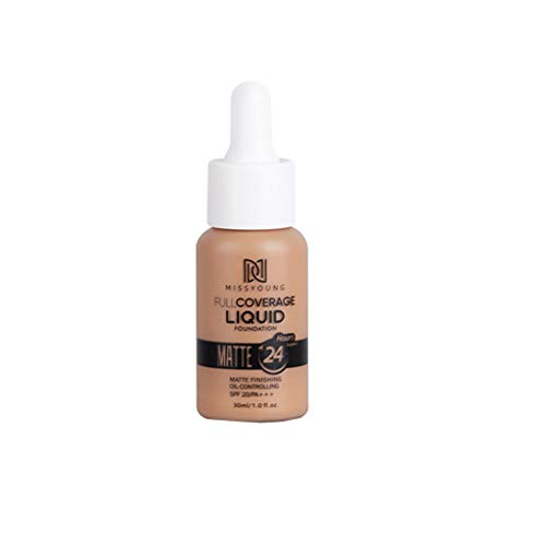 (Averyzoe 30ml Make up Liquid Foundation 6 Colors Matte Concealer Complexion Rescue Foundation Waterproof Long-Lasting Cream for All Skin Types)