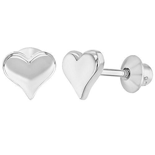 925 Sterling Silver Classic Screw Back Little Heart Earrings for Babies Kids