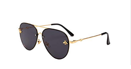MINQY Women Bee Sunglasses 2019 Gold Pilot Fashion Metal Frame Vintage Oversized ()
