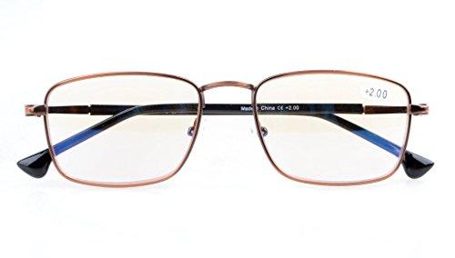UV Protection,Anti Blue Rays,Reduce Eyestrain,Spring Hinges,Computer Reading Glasses(Bronze,Amber Tinted Lenses) +0.75 (Tinted Bronze Lens)