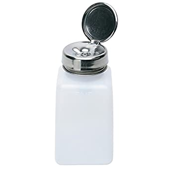MENDA 35309 High-Density Polyethylene/Hdpe/Steel/Low-Density  Polyethylene/Ldpe Dispensing Bottle, One-Touch Liquid Dispenser Pump,  Natural Square