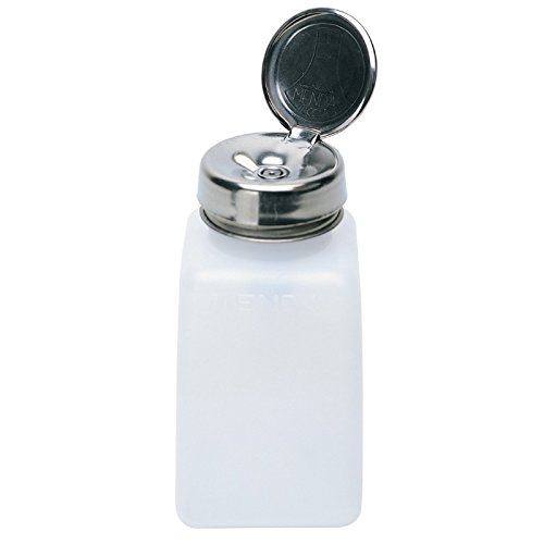 MENDA 35309 High-Density Polyethylene/Hdpe/Steel/Low-Density Polyethylene/Ldpe Dispensing Bottle, One-Touch Liquid Dispenser Pump, Natural Square HDPE, 6 oz, 6 fl. oz. Capacity (Pump Menda)