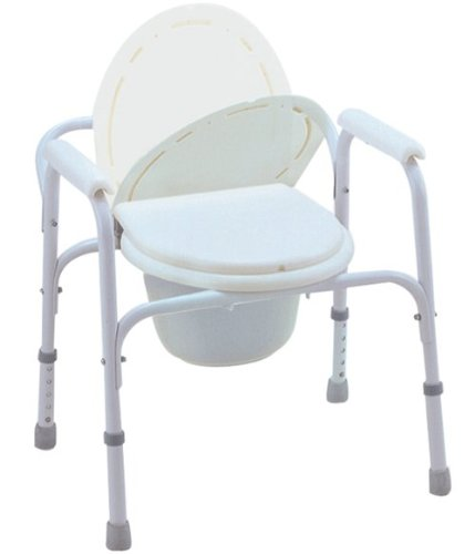 All In One Steel Commode (MedMobile® Bedside Commode/Toilet Seat/Safety Rails - All in One Commode)