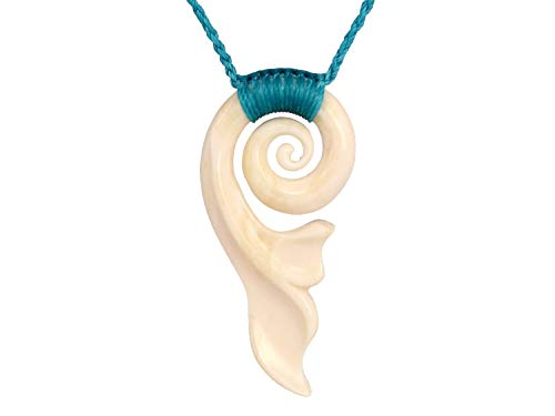 XKCHIEF Mermaids Style Koru with Fish Tail or The Waves of The Sea Shape, OX Bone Carving with Adjustable Blue Sea Color Wax Cord, Handmade Women Jewelry, 1.97