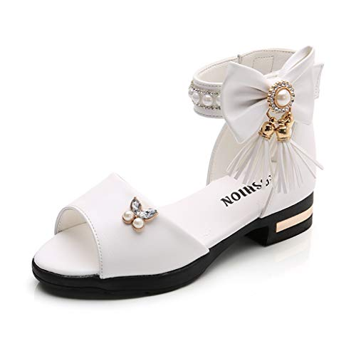 WENSY Girls Big Boy Tassel Bow Pearl Rhinestone Buckle Buckle Princess Shoes Roman Boots Dance Shoes Sandals(White,33)