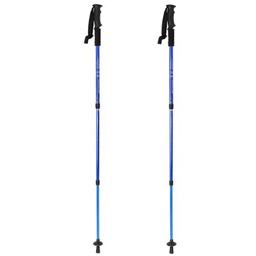 AGPtek® Blue Hiking Trekking AntiShock Walking Stick Pole Retractable Adjustable Compass (2 pcs)