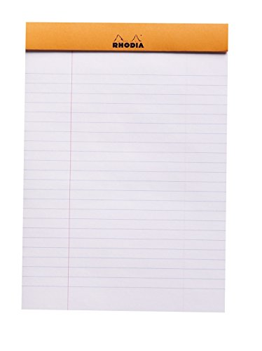 Rhodia Staplebound Notepads - Lined w/ margin 80 sheets - 6 x 8 1/4 in. - Orange cover