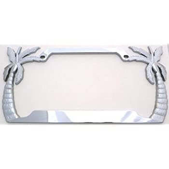 Amazon Com Palm Trees License Plate Frame Gold Plated