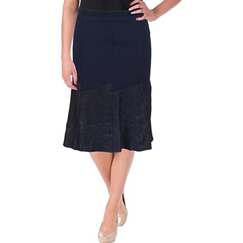 Elie Tahari Womens Becky Day to Night Knee-Length A-Line Skirt Navy 12