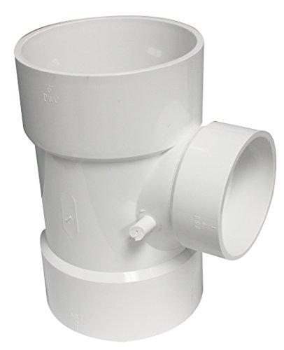 (Canplas 192144 PVC DWV Sanitary Tee, 6 x 6 x 4-Inch, White)