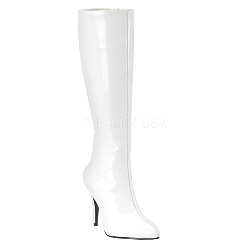 Funtasma by Pleaser Women's Lust-2000 Boot,White Stretch Patent,10 M