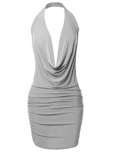 Made by Emma Sexy Halter Neck Ruched Bodycon Backless Party Cocktail Mini Dress Silver L
