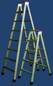 Escalera madera plegable tijera con soporte y tacos 4 peldaños: Amazon.es: Bricolaje y herramientas