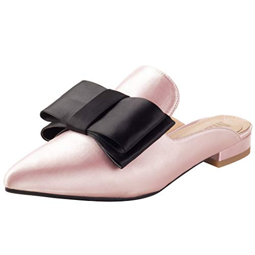 Backless Mule Satin Womens Embellished Mavirs Loafers Loafers Bow for Women Slippers On Slip Suede Loafers Pink P7ZYgqFwZ
