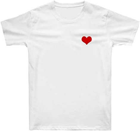 XXW Verano Chic Japonesa Tide Marca Corazón Pesqueros Pequeños Hombre Y Mujer Enamorados Impresión Blanca Camiseta del Corazón De La Camiseta De Las Mujeres Camiseta De Manga Camisa De Los Amantes: Amazon.es: